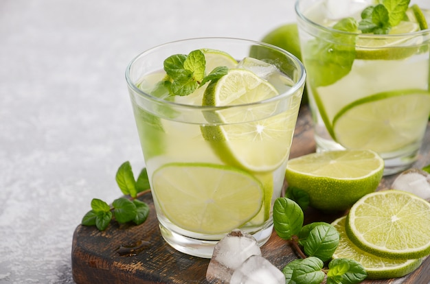 Cold refreshing summer drink with lime and mint in a glass on a gray concrete or stone.