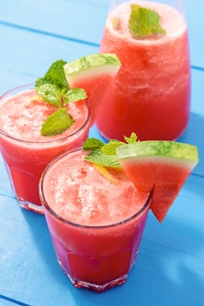 Cold refreshing summer tropical watermelon drinks