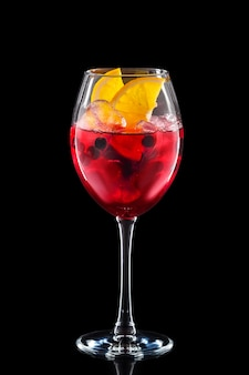 Cold sangria in a wine glass