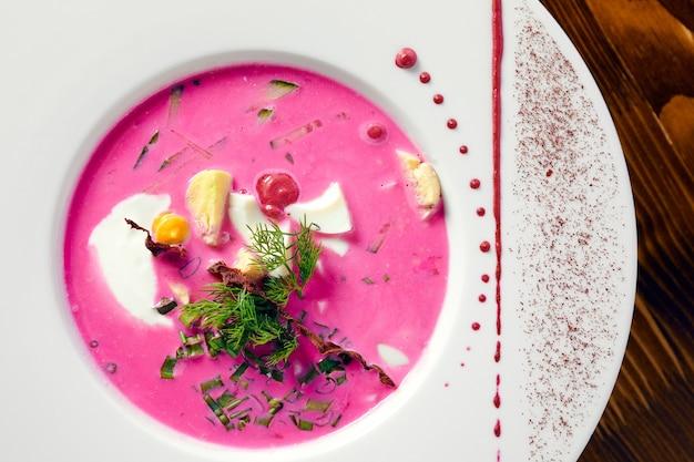 冷たいスープ、どんな目的にも最適なデザイン。上面図