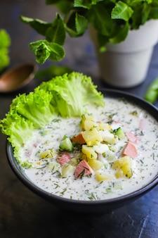 Cold soup vegetables greens okroshka second course food