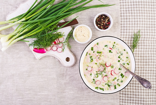 Cold soup with fresh cucumbers, radishes, potato and sausage with yoghurt in bowl