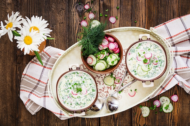 Cold soup with fresh cucumbers, radishes with yoghurt in bowl on wooden table. traditional russian food - okroshka. vegetarian meal. top view. flat lay