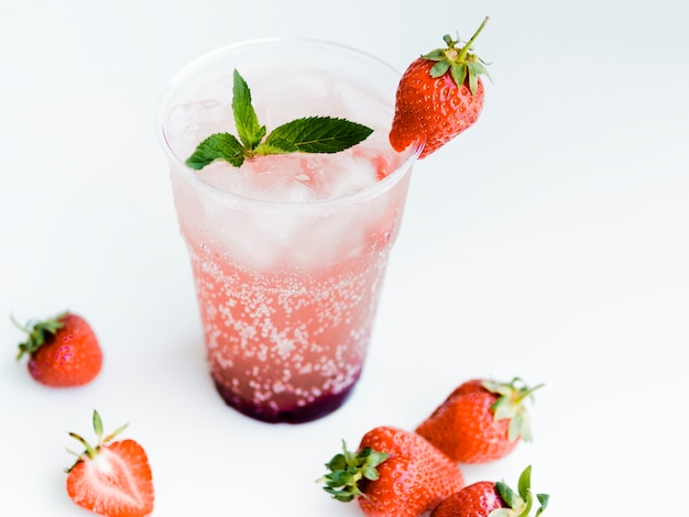 Cold strawberry cocktail with mint