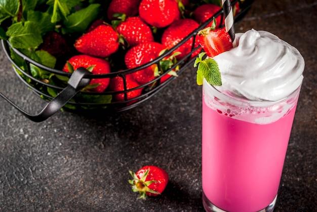 Cold strawberry  milkshake