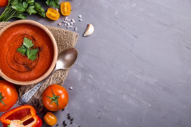Cold summer dish of tomatoes gazpacho soup