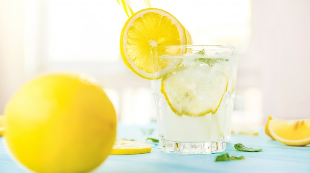 Cold sweet and sour lemonade juice, refreshing drinks for summer