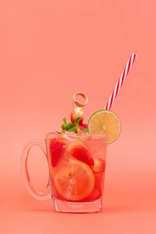 Cold sweet and sour strawberry lemonade juice drink