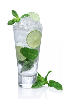 Cold tasty mojito in highball glass isolated on white.