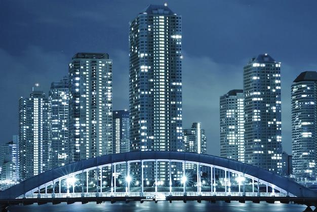 夜の東京の冷たい色調の街並み、月島地区のモダンな建物、永代橋