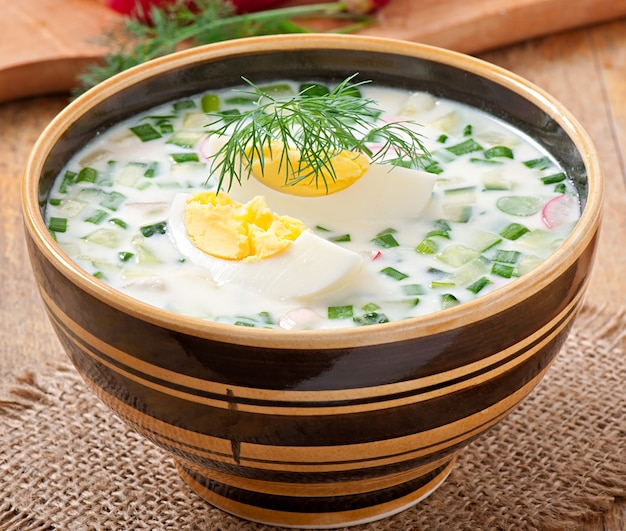 Cold vegetable kefir soup with eggs and greens