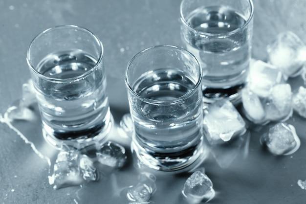 Cold vodka in shot glasses