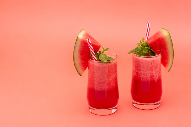 Cold watermelon fruit juice smoothies