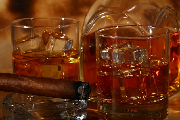 Cold whiskey  and cigar