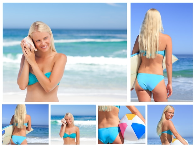 Collage of an attractive blonde woman posing on a beach