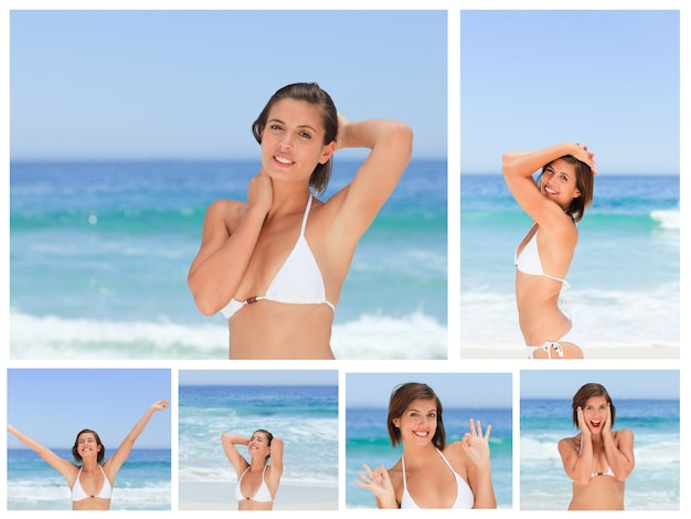 Collage of an attractive brunette woman posing on a beach