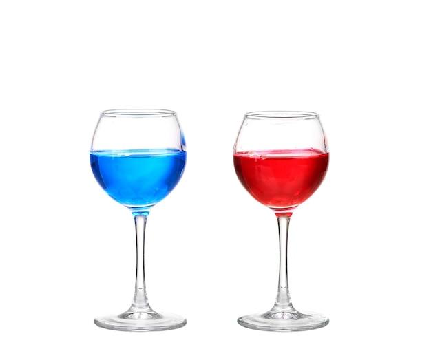 파란색과 빨간색 칵테일을 콜라주