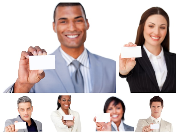 Collage of business people showing signs