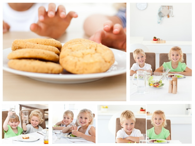 Collage of children having a snack