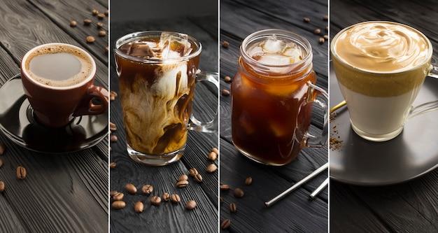 검은 나무 배경에 커피 종류를 콜라주합니다. 클로즈업입니다.