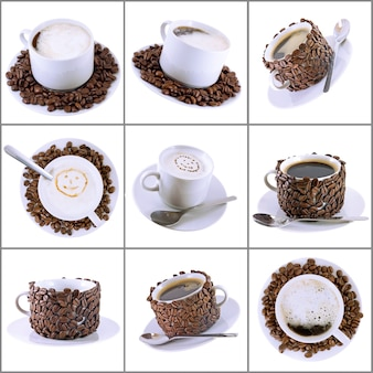 Collage (collection) of various coffee cups with coffee. isolated over white.