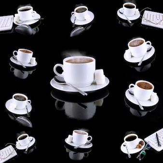 Collage (collection) of various coffee cups with coffee.