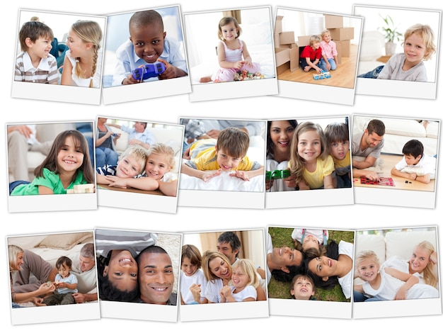 Collage of cute children playing at home
