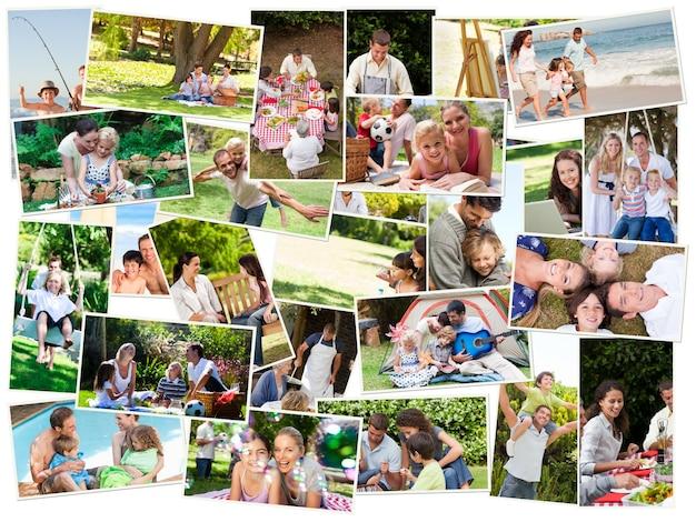 Collage of cute families having fun