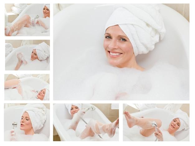 Collage of a cute woman taking a bath