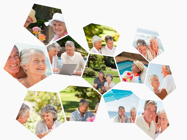 Collage of different elderly couples spending time together