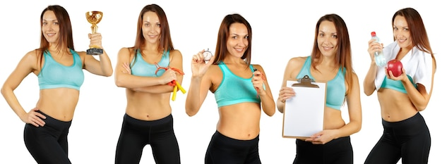 Collage of different fitness exercises isolated on a white background