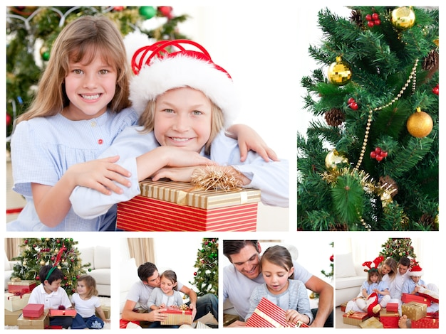 Collage of a family celebrating christmas