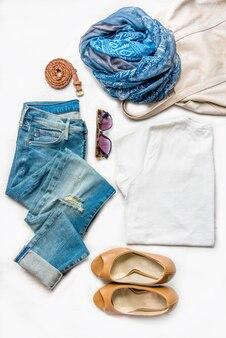 Collage of female clothing set.