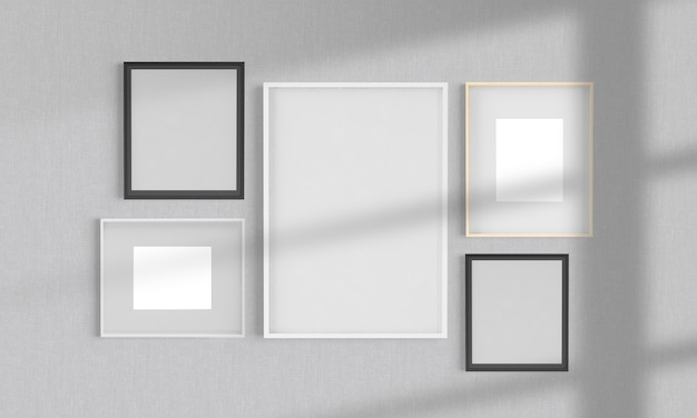 Collage frames on a wall mockup 3d rendering