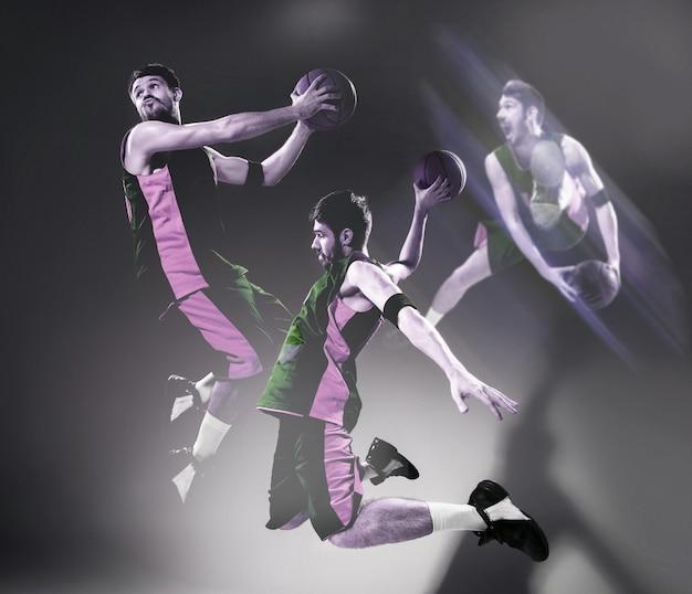 공을 든 농구 선수의 이미지에서 콜라주