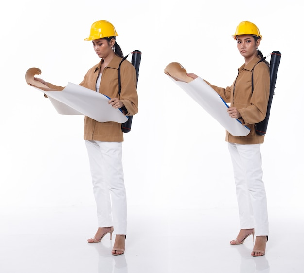 Collage full length figure of 20s asian beautiful woman engineer wear safety hard hat. architecture female stands and carry construction blueprint roll tube over white background isolated