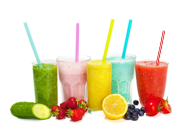 Collage of glasses with fresh delicious smoothie and straw on white
