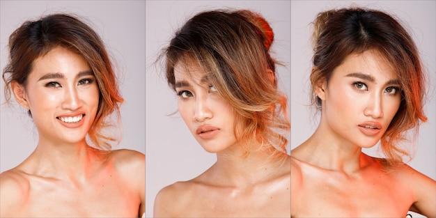 Группа коллажей face head shot портрет азиатской женщины 20-х годов черный светлый локон прически моды косметический состав. девушка выражает чувство позы взгляд смотрит на белый пастельный фон изолированные