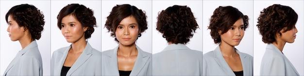 Группа коллажей face head shot портрет азиатской женщины 20-х годов черный короткие волосы завиток серый пиджак макияж. девушка стоит и поворачивает 360 вокруг угла заднего вида сзади на белом фоне изолированные