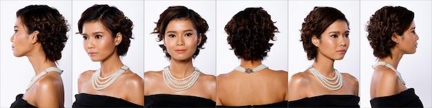 Группа коллажей face head shot портрет азиатской женщины 20-х годов черная короткая прическа локон косметика составьте жемчужное ожерелье. девушка стоит и поворачивает 360-градусный вид сзади сбоку на белом фоне изолированы