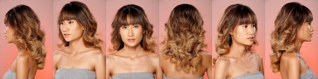 20代のアジア人女性のコラージュグループの顔のヘッドショットの肖像画茶色のブロンドの髪型灰色の広大な化粧品メイクアップ。女の子が立って、後ろ側を360度回転します。背面図はピンク色の背景を分離します