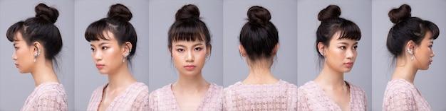 콜라주 그룹 얼굴 헤드 샷 20대 아시아 여성 조랑말 검은 머리 스타일 분홍색 옷 화장품 메이크업의 초상화. 소녀는 흰색 배경 위에 보이는 후면 후면보기 주위를 360 회전합니다.