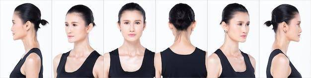 Группа коллажей face head shot портрет азиатской женщины 30-х годов, черная прическа, обширная косметический макияж. девушка поворачивает 360 градусов вокруг задней стороны вид сзади многие смотрит на белом фоне изолированные
