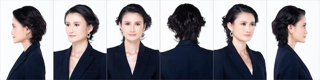 Группа коллажей face head shot портрет азиатской женщины 40-х годов, короткие черные волосы, синий костюм. косметический макияж. девушка поворачивает 360 вокруг задней стороны вид сзади многие смотрит на белом фоне изолированные