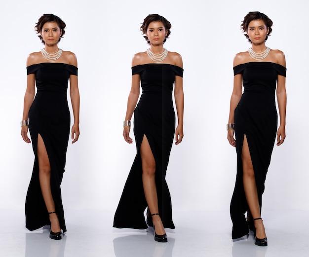 コラージュグループ20代のアジア人女性の全身像黒の短いカールの髪の長いイブニングドレスとハイヒールの靴。分離された白い背景の上の女性の歩行前方差ポーズビュー