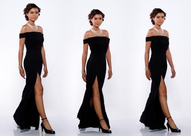 コラージュグループ20代のアジア人女性の全身像黒の短いカールの髪の長いイブニングドレスとハイヒールの靴。女性の歩行左ステップの違いは、分離された白い背景の上のビューをポーズします