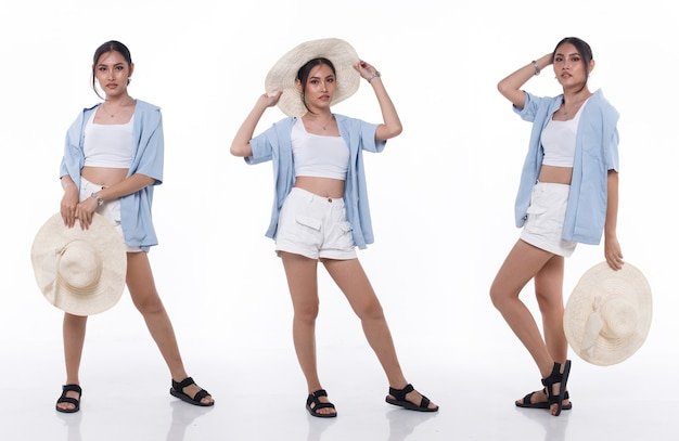 Collage group full length figure snap of 20s asian woman black hair wear beach wear hat and slipper shoes. female stand walk and express feeling fun happy smile over white background isolated