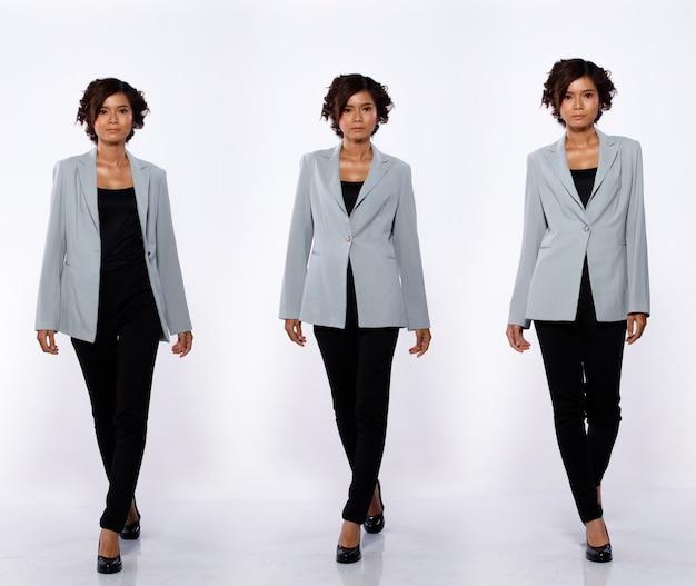 コラージュグループ20代のアジア人女性のフルレングスの肖像画黒のショートカールヘアグレーのスーツジャケットパンツと靴。少女は前方に歩く白い背景の多くの外観が分離されました