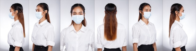 Collage group half body portrait of 20s asian woman black brown long hair white shirt. office girl turns 360 around rear side back view looks, wear protective face mask over white background isolated