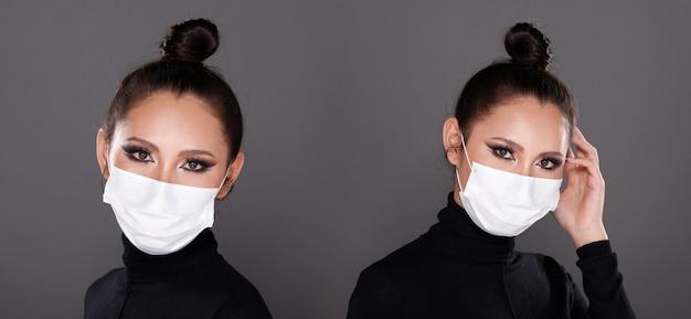 Коллаж группа половина тела портрет 20-х годов азиатская женщина, черные волосы, черное платье с черепаховой шеей. девушка моды создает много взглядов, косметику на глазах, носить защитную маску на сером фоне изолированы